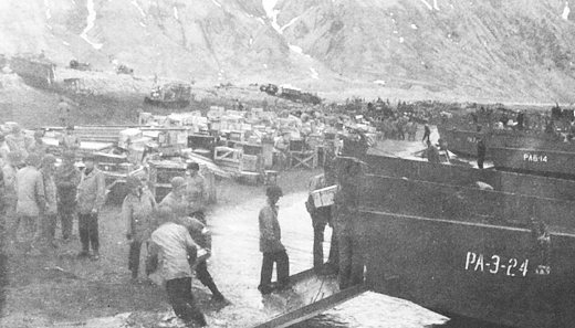 Unloading Supplies On Attu, May 1943